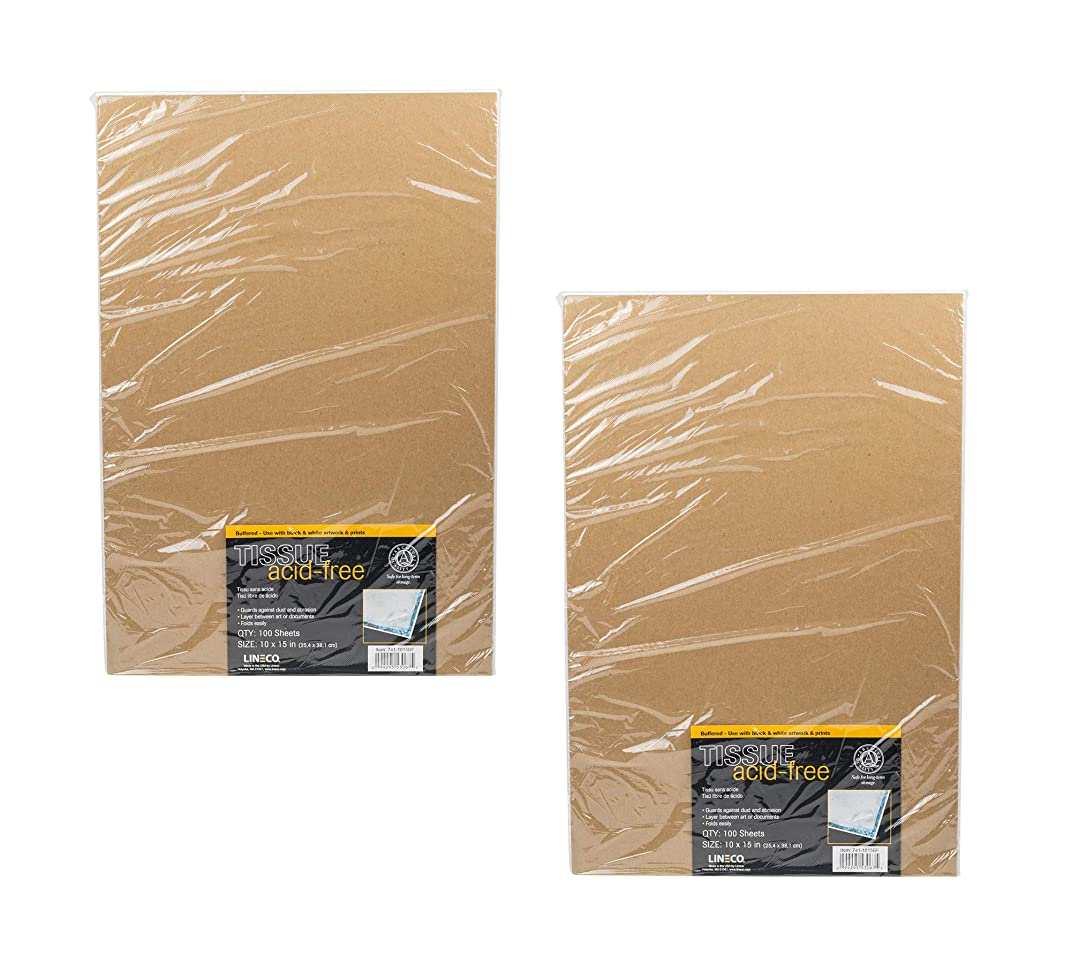 Lineco, Buffered Tissue Paper - Pack of 2 - Acid Free - Archival Quality - 100 Sheets per Pack - 10 x 15 in Size - for Black/White or Color Artworks and Prints - Layer Between Art or Documents