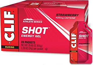CLIF SHOT - Energy Gels - Strawberry - 25mg Caffeine (1.2 Ounce Packet, 24 Count)