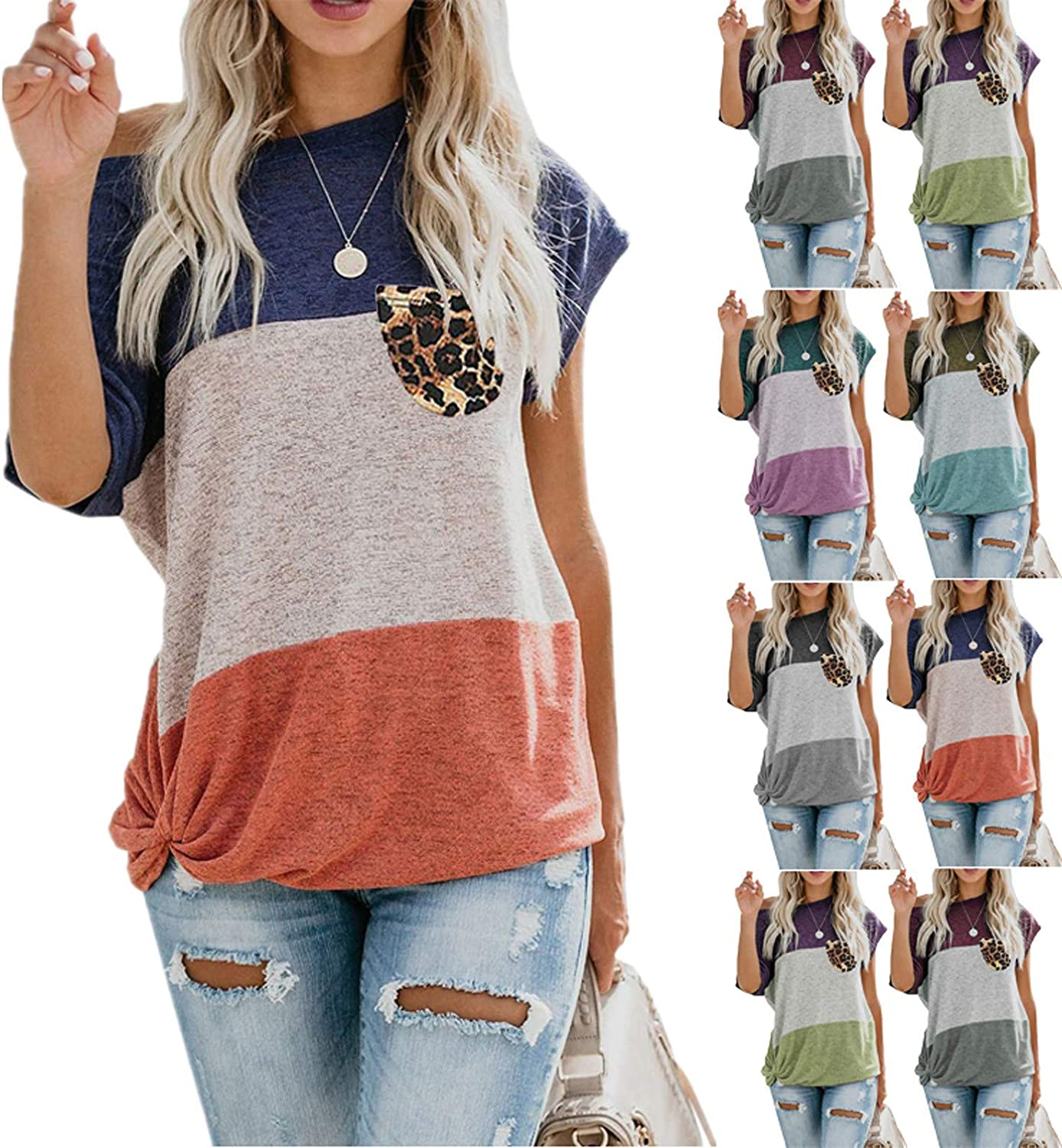 OR Plus Size T Shirts Women, Leopard Printed Women's Short Sleeve Patchwork Casual T-Shirt Blouse Tops Pocket