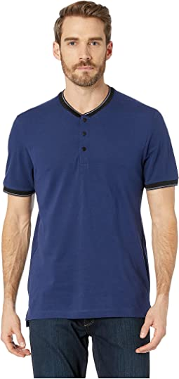 Short Sleeve Solid Baseball Neck Henley