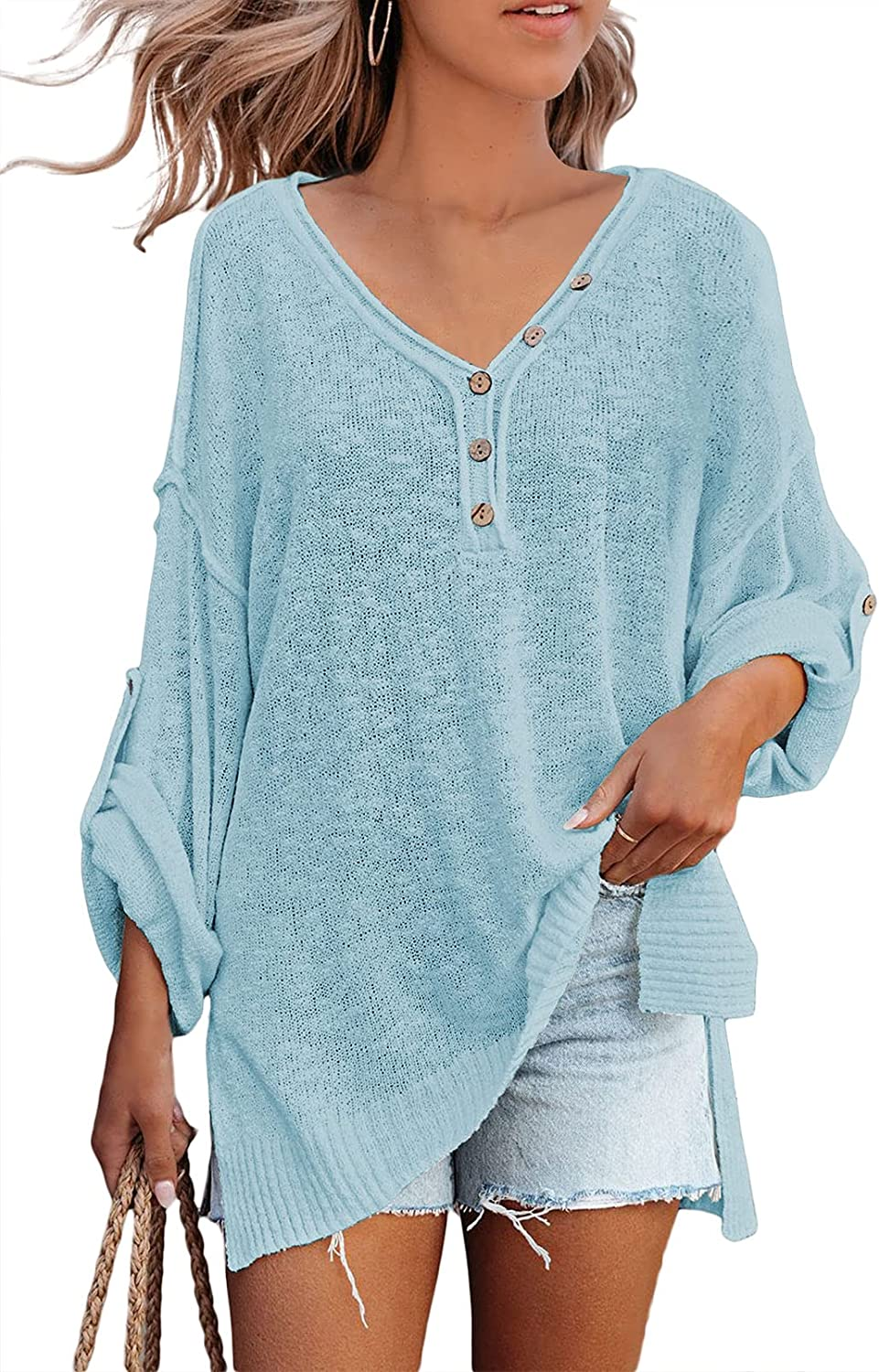 TOLENY Women's Casual V Neck Long Sleeve Oversized Lightweight Knitted Pullover Sweater