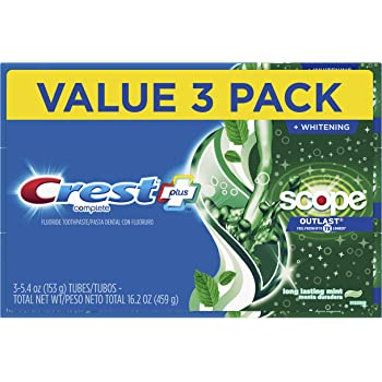 Crest Complete Whitening + Scope, Long Lasting Mint Toothpaste, Triple Pack (3 Count of 5.4 oz Tubes), 16.2 oz