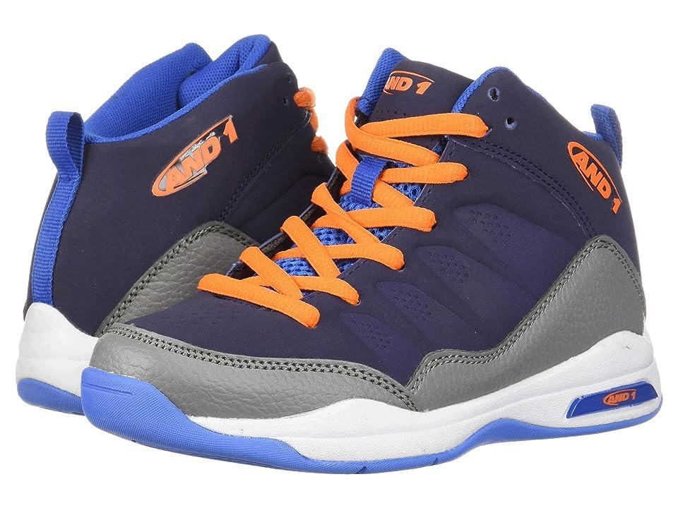 AND1 Kids Breakout (Little Kid/Big Kid) (Black Iris/Alloy/Shocking Orange) Boys Shoes