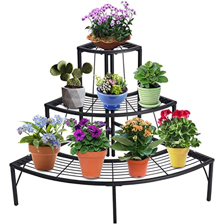 Doeworks 3 Tier Plant Stand Planters Display Holder Flower Pot Rack Quarter Round Plant Corner Shelf Indoor Outdoor Black Amazon Co Uk Kitchen Home