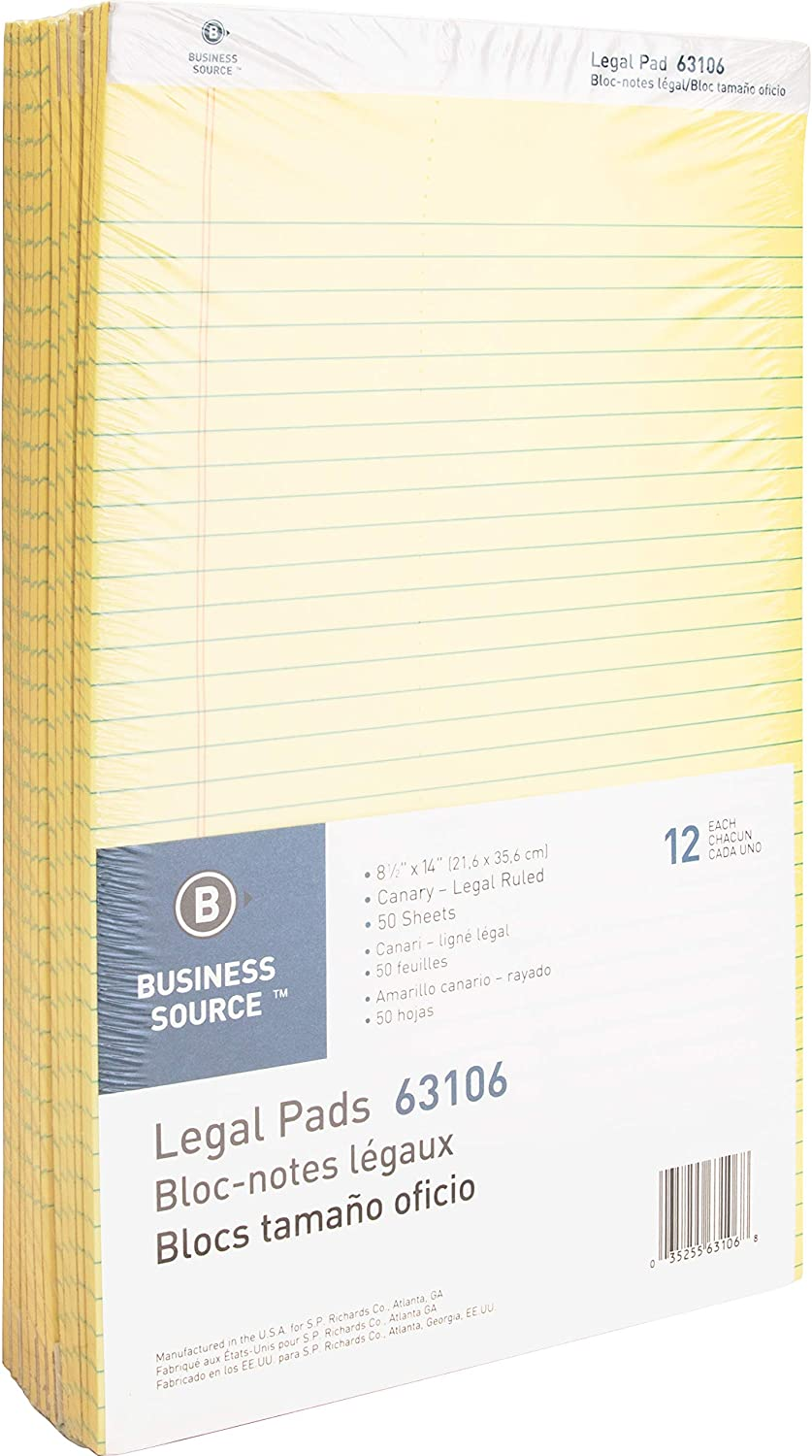 Business Source SEAL limited product Micro Perforated Legal Paper Pads Ruled 5 ☆ very popular Canary