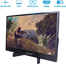 15.6 inch Portable Monitor, Ultra-Thin IPS Full HD 1080P Gaming 5mm Thickness Display for PC Laptop PS4 Xbox DVD Dual HDMI with Mini Stand USB Type-C Powered LED Backlight Built-in Speaker Audio Out