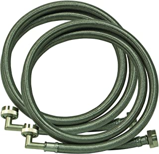 Eastman 48377 Braided Stainless Steel Washing Machine Hose with 90-Degree Elbow, 5 ft, 1-Pair