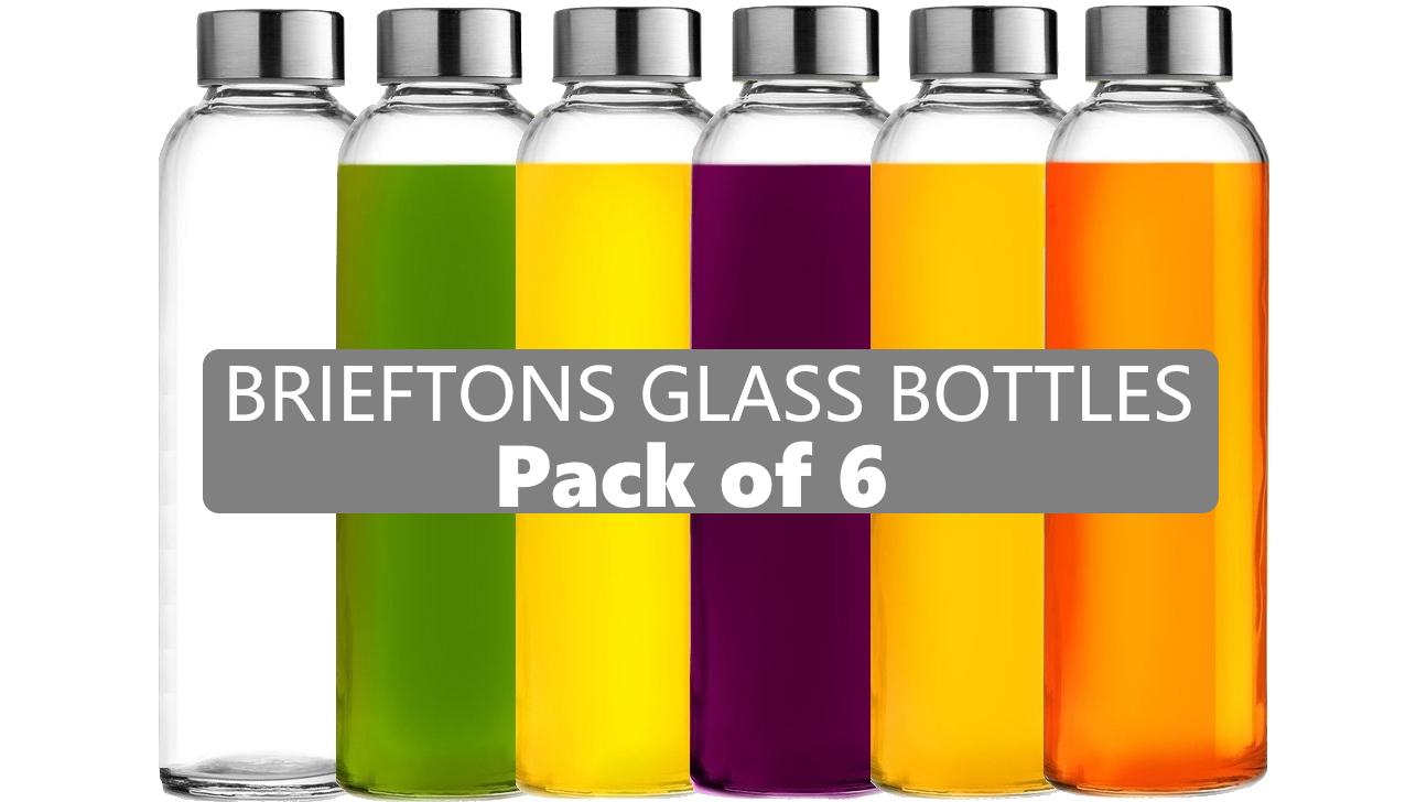Brieftons Glass Water Bottles: 6 Pack, 18 Oz, Stainless Steel Leak Proof Lid, Premium Soda Lime, Best As Reusable… |