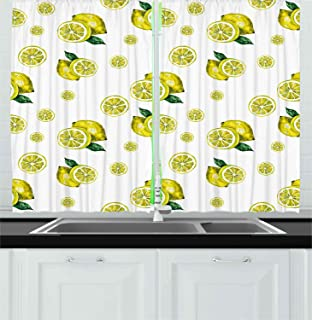 Ambesonne Modern Kitchen Curtains, Lemon with Slices and Leaves Summer Season Fresh Fruit Watercolor, Window Drapes 2 Panel Set for Kitchen Cafe Decor, 55