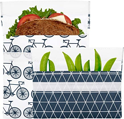 Lunchskins Reusable 2-Pack Velcro Bag Set 2-Pack Sandwhich & Snack Charcoal Bicycle