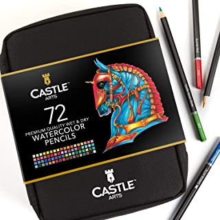 Castle Art Supplies 72 Watercolor Pencils Zip-Up Set for Adults Kids Artists | Quality Colored Cores Vivid Colors to Create Beautiful Blended Effects with Water | Includes Handy Travel Case
