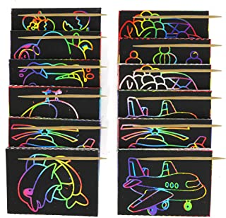 Big Mo's Toys Scratch Art - Color and Scratch Cards Party Favors with Stylus - 20 Pieces