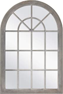 MCS 68874 Countryside Arched Windowpane Wall, Gray, 24x36 Inch Overall Size Mirror,