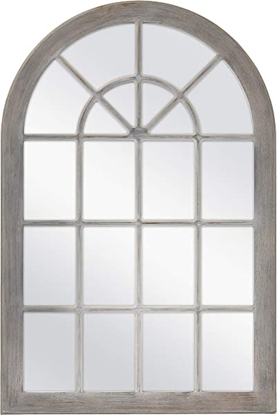 MCS 68874 Countryside Arched Windowpane Wall Gray 24x36 Inch Overall Size Mirror