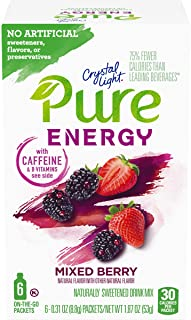 Sponsored Ad - Crystal Light Pure Mixed Berry Energy Drink Mix with Caffeine and B Vitamins (48 On-the-Go Packets, 8 Packs...