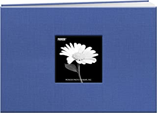 Pioneer 5 Inch by 7 Inch Postbound Fabric Frame Front Memory Book, Sky Blue