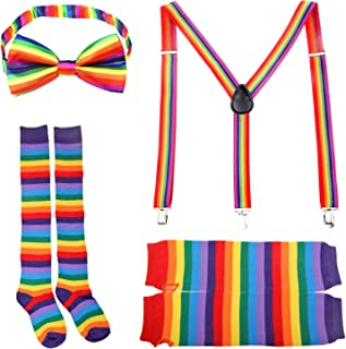 Adult Rainbow Costume Sets Wave Wig Long Gloves Stockings Tail Tutu Skirt Feather Headband