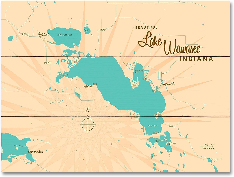 Lake Wawasee Indiana Map Wood Art by 24