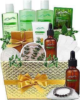 Bed Bath Body Gift Set Eucalyptus Mint Aromatherapy Spa Baskets for Men & Women. Bath & Body Spa Gift Baskets for Relaxati...