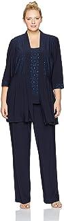 R&M Richards Women's Plus Size Two Piece Glitter and Lace Pant Set Large