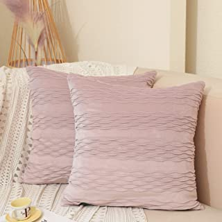Dulce Dom Velvet Pink Throw Pillow Covers with Chic Wave Striped Design, Lustrous Decorative Pillow Cases for Sofa Couch B...