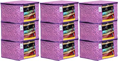 Kuber Industries Metallic Flower Design 9 Piece Non Woven Saree Cover, Large(Pink & Purple) - CTKTC034552