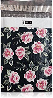 25 Pack 6x10 Pink and Green Flowers Poly Bubble Mailers Padded Shipping Envelopes Bags with Custom Designer Printed Boutique Pattern and Self Seal Adhesive Strip - Large Heavy Duty Waterproof Bulk