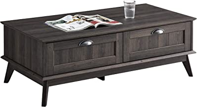 Newport Series Tall Center Coffee Table with Two Fully Extended Drawers   Sturdy and Stylish   Easy Assembly  Smoke Oak Wood Look Accent Living Room Home Furniture