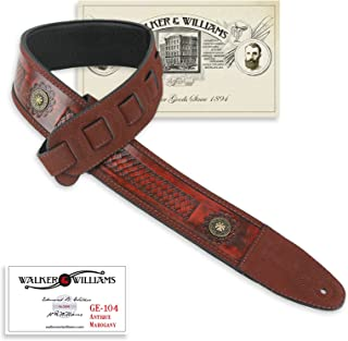 Walker & Williams GE-104 Antique Mahogany Tooled Padded Strap with Brass Conchos