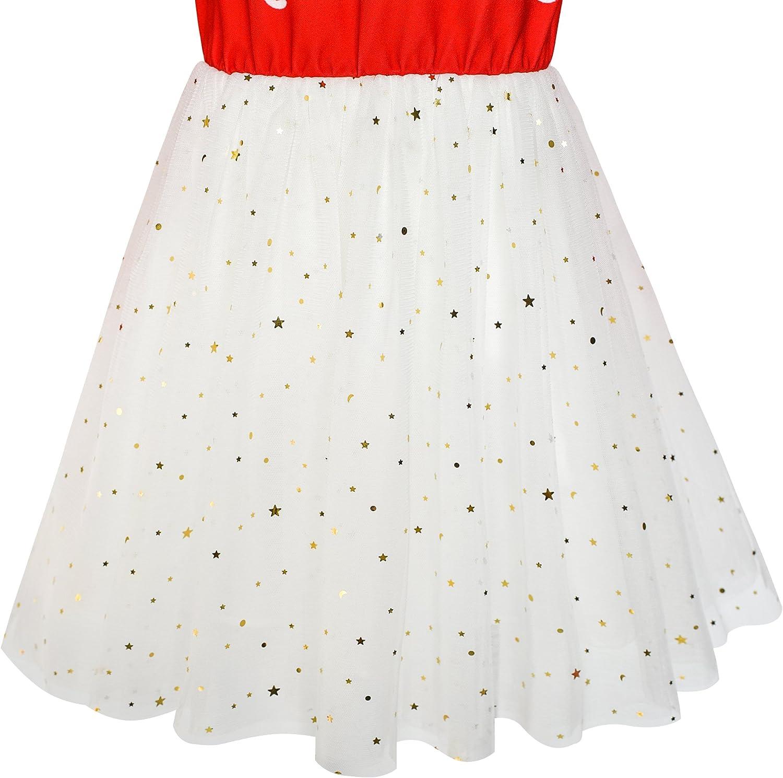 Sunny Fashion Girls Dress Long Sleeve Christmas Owl Sparkling Sequin Tulle
