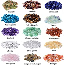 1500 Pcs Chip Gemstone Beads DIY Jewelry Making, Healing Engry Crystals Polishing Crushed Irregular Shaped Beads with Box (15 Materials)
