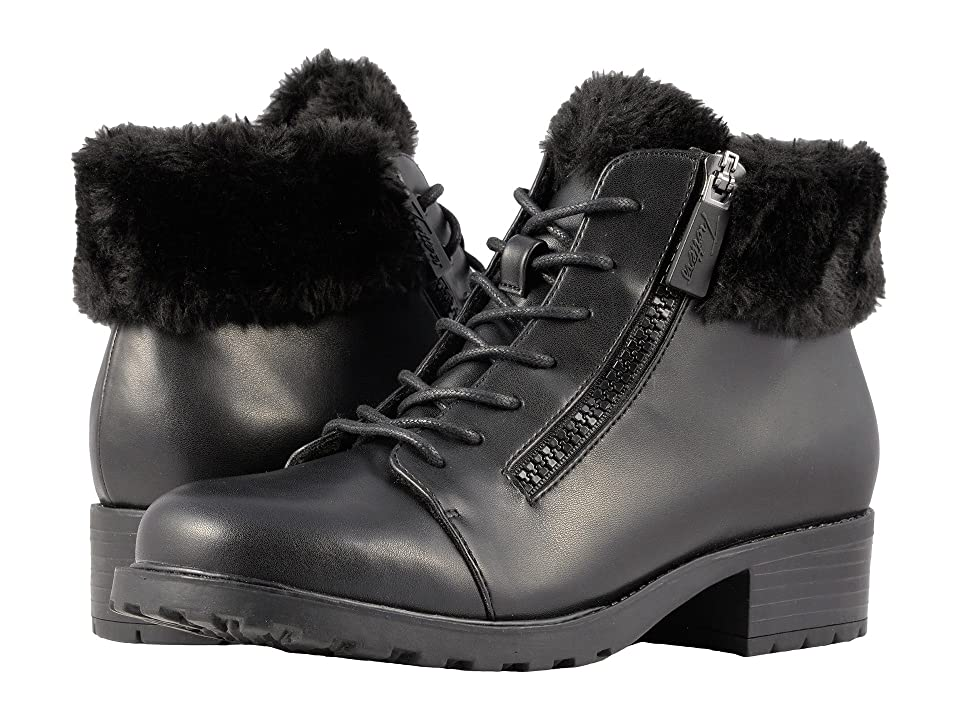 Trotters Below Zero Waterproof (Black Smooth PU Waterproof/Faux Fur) Women