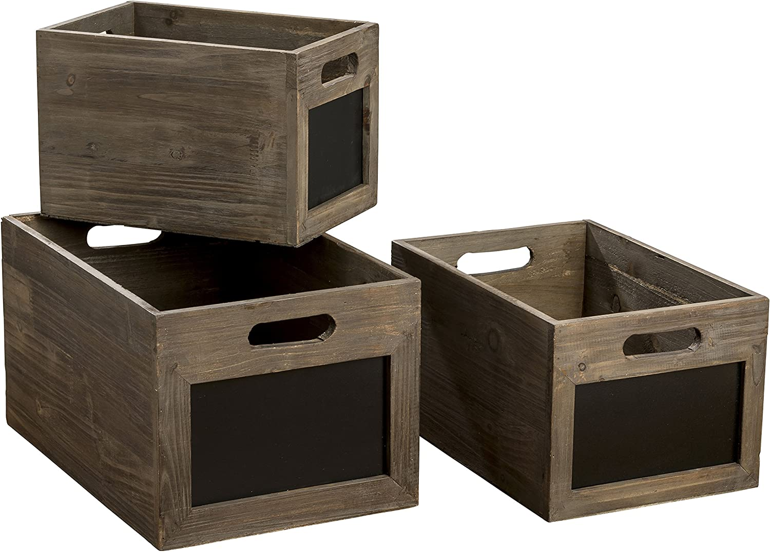 Easy Label Chalkboard Crates, Essential Home Organizers, Boxes, Set of 3, Sustainable Fir, Nesting Rectangles, 15, 12, and 10 3 4 Inches Long, Storage For Files, Toys, Clothes, Magazines,and More