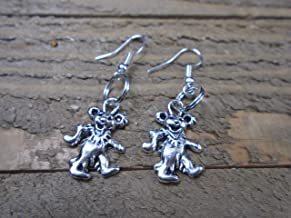 BEACH HEMP JEWELRY Grateful Dead Bear Earrings Charm Dangles Handmade In USA