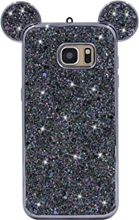 Galaxy S7 Edge Case, MC Fashion Cute Sparkle Bling Glitter 3D Mickey Mouse Ears Soft and Protective TPU Rubber Case for Samsung Galaxy S7 Edge (Black)