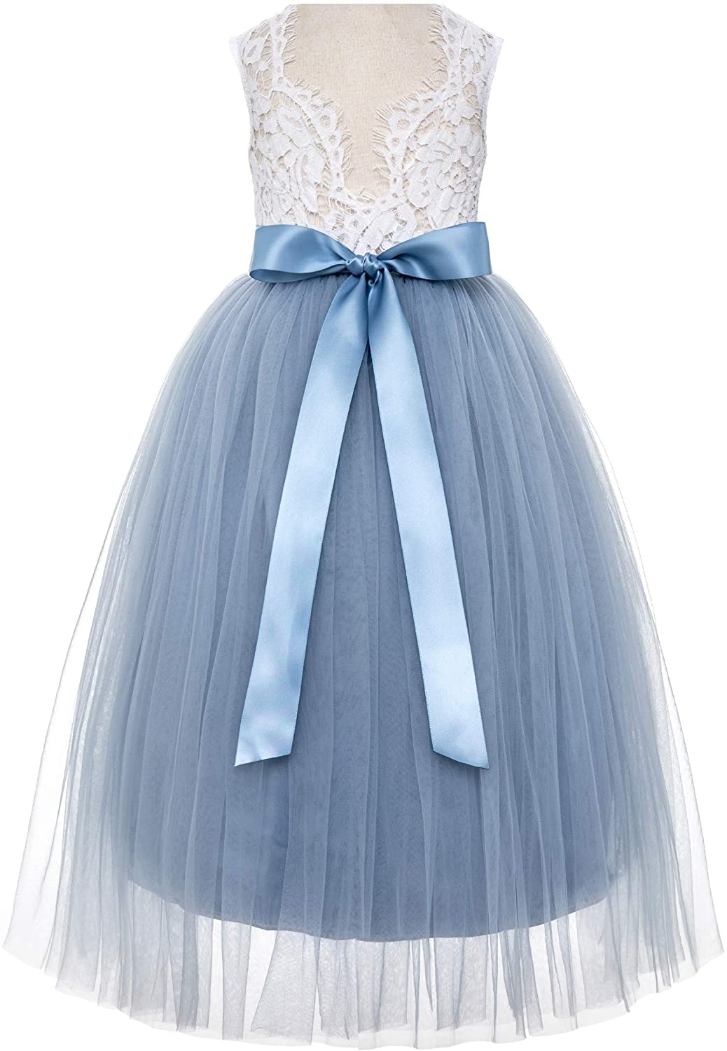 ekidsbridal Scalloped Lace Back Flower Girl Dress Daily Gown Birthday Party Holiday 207R
