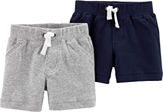 Carter's Baby Boys 2 Pack Pants, Heather/Navy Shorts, 12 Months