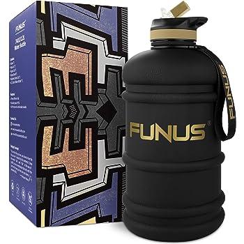 FUNUS Big Water Bottle BPA Free Half Gallon Water Bottle Hydro Jug Reusable Water Bottle for Men Women Fitness Sport Gym Outdoor Climbing (Black, 2.2L)