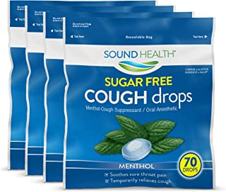 SoundHealth Sugar Free Menthol Cough Drops,Cough Suppressant Throat Lozenge, 70 Count (Pack of 4)