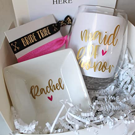 Bridesmaid Gift Box With Coffee Mug | Personalized Ring Dish for Maid of Honor | Hair ties | Wedding Gift for Best Friend | Proposal