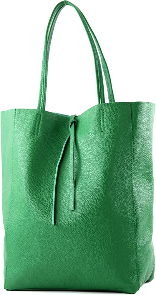 Modamoda de, borsa in pelle, shopper per donna a spalla, verde T163GN