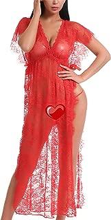 Women Sexy Lace Mesh Lingerie Sleepwear Chemises Long Gown Nightdress