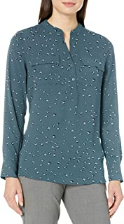 Lark & Ro Amazon Brand Women's Long Sleeve Sheer Utility Woven Tunic Top with Band Collar