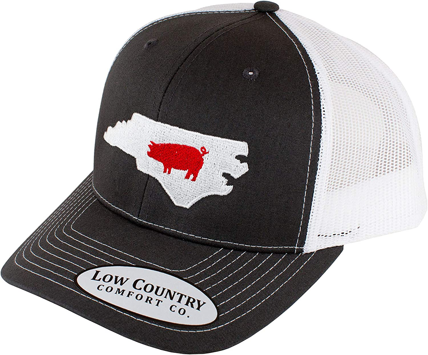 Low Country Clothing Company Official North Carolina Pig Adjustable Hat - Embroidered on Richardson 112 Trucker Hat (Charcoal)