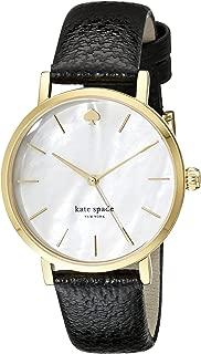 kate spade new york Goldtone Metro Black Leather Watch