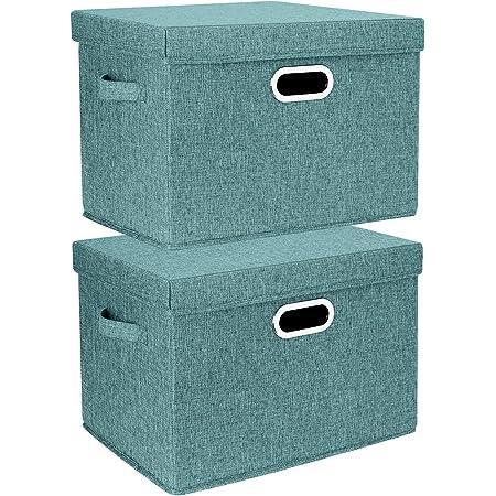 TYEERS 2 Pack Boîtes de Rangement Pliables avec Couvercle et Poignées, Caisse de Rangement pour Vêtements en Tissu Lavable - Aqua Deep