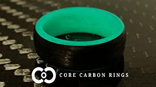 Men's or Women's Carbon Fiber Teal Glow Ring - Handcrafted - Black Band with Glowing Interior - Custom Band widths
