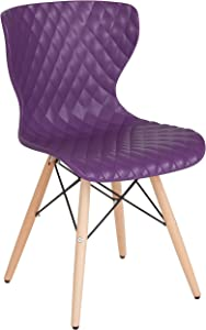 Flash Furniture Bedford Contemporary Design Purple Plastic Chair with Wooden Legs
