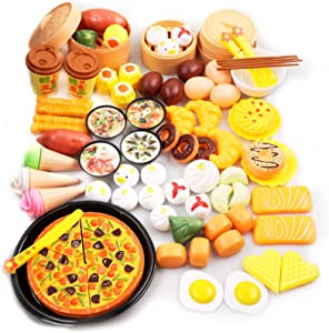 oADANNUo 88 PCS Dim Sum Play Food Toy for Kids Kitchen, Pretend Pizza &Ice Cream with Bread, Plastic Mini Tableware and Knife, Educational Toy for Toddler Children Birthday Gift