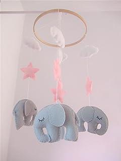 Móvil bebé cuna elefante rosa gris adorno infantil